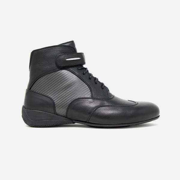 Men's black leather and carbon fiber Roadster dress boot, made in partnership with Pagani, lateral view