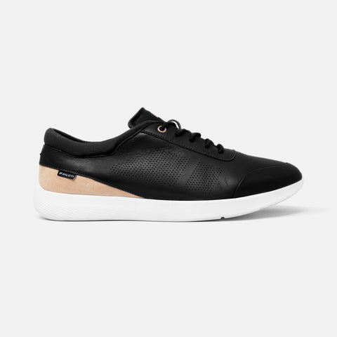 Women's black leather and blush suede Vittoria sneaker with white cup sole, lateral view