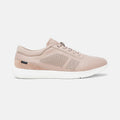 Women's blush leather and blush suede Vittoria sneaker with white cup sole, lateral view