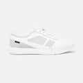 Women's white leather and grey suede Vittoria sneaker with white cup sole, lateral view