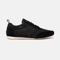 Men's black suede, nubuck leather and recycled cotton Endurance driving shoe with gum sole, lateral view