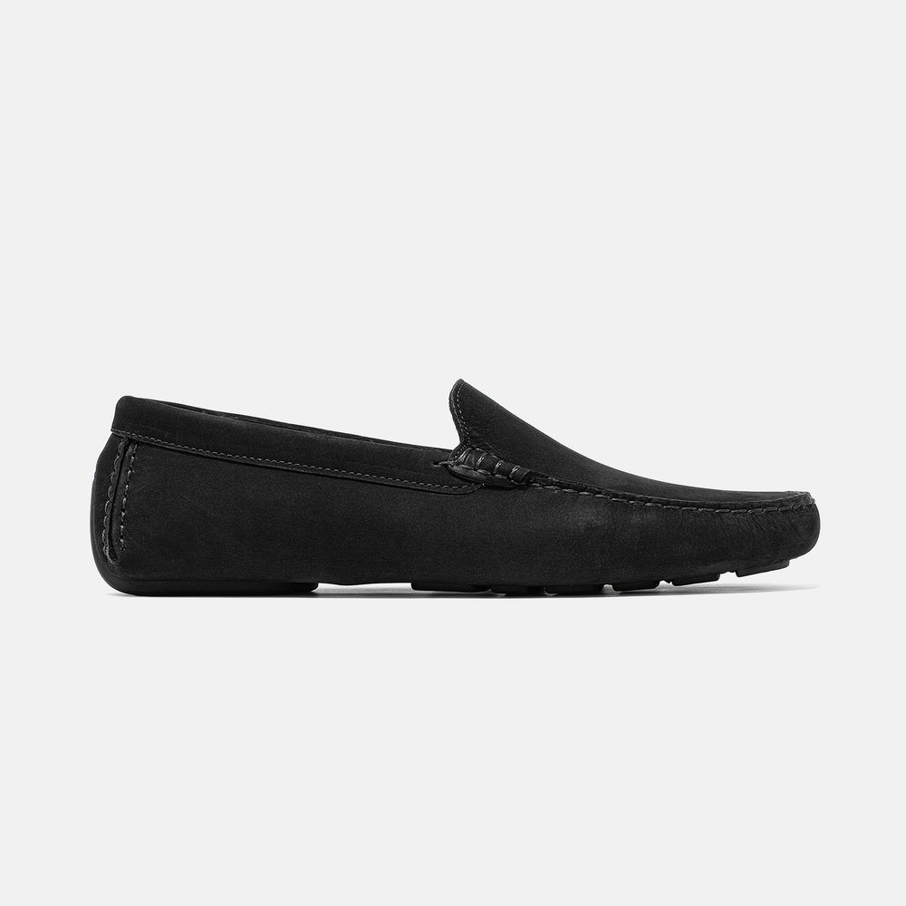 Men's black nubuck leather Officina driving loafer with black sole, lateral view