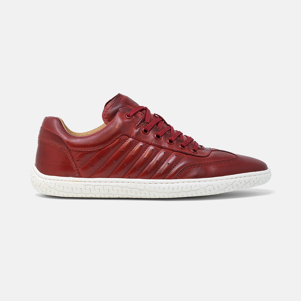 Men's red burnished leather Pistone X sneaker with white cup sole, lateral view