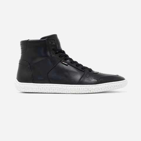 Men's black leather Apex high top sneaker with white cupsole, lateral view
