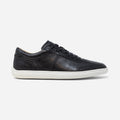 Men's black leather Avenue low top sneaker with white cupsole and brogue detailing, lateral view
