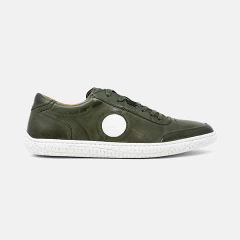 Men's forest green burnished leather Avenue low top sneaker with white cupsole and white roundel detail, lateral view