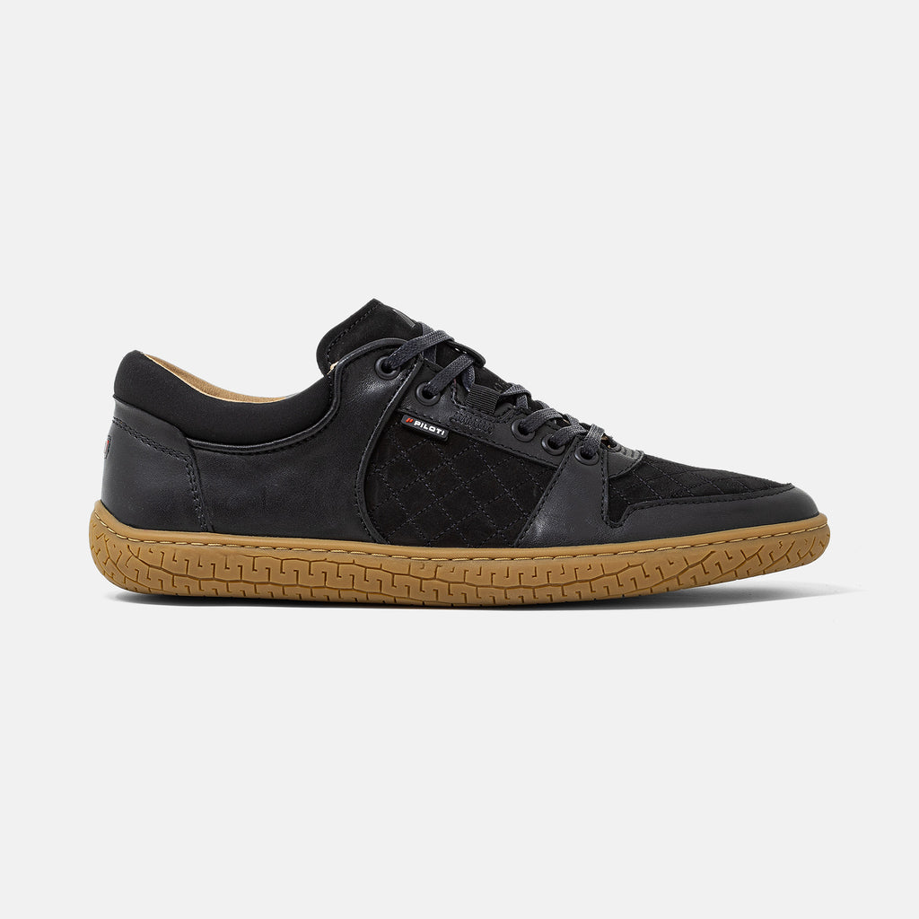 Men's black leather and suede Momentum sneaker with gum cup sole, lateral view