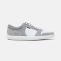 Men's white leather and grey suede Momentum sneaker with white cup sole, lateral view