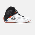 Men's white and black leather Pinnacle racing boot, FIA/SFI rated, lateral view