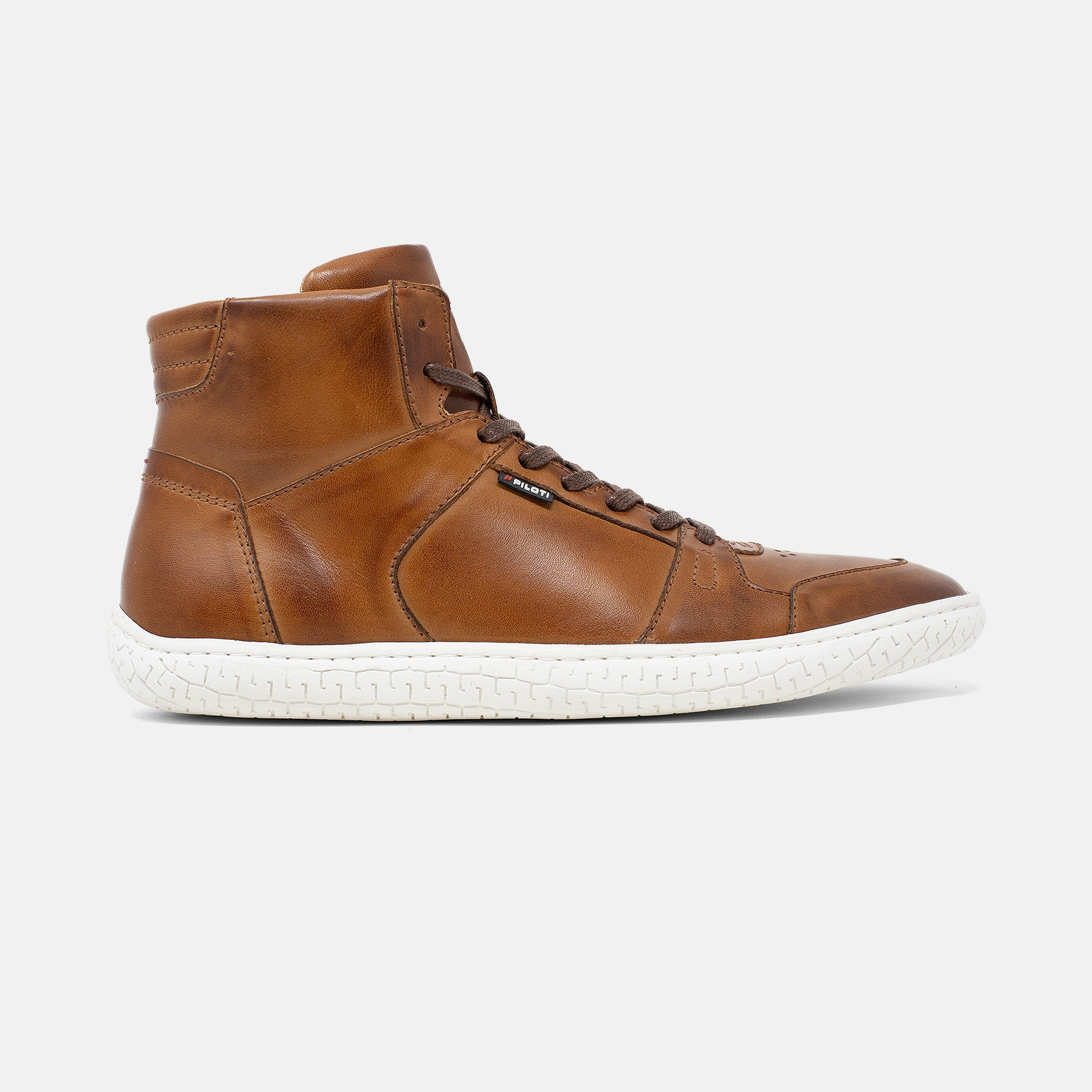 Men's cognac brown burnished leather Apex high top sneaker with white cupsole, lateral view