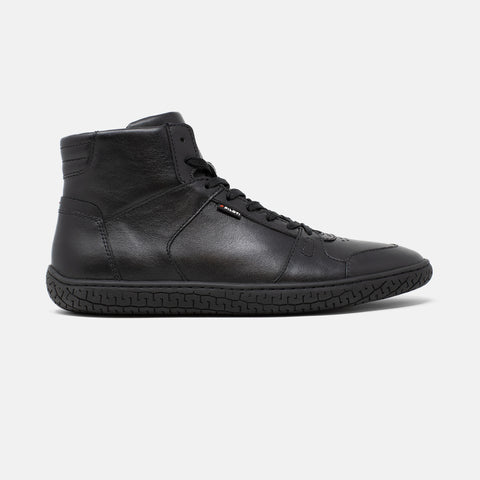 Men's black leather Apex high top sneaker with black cupsole, lateral view