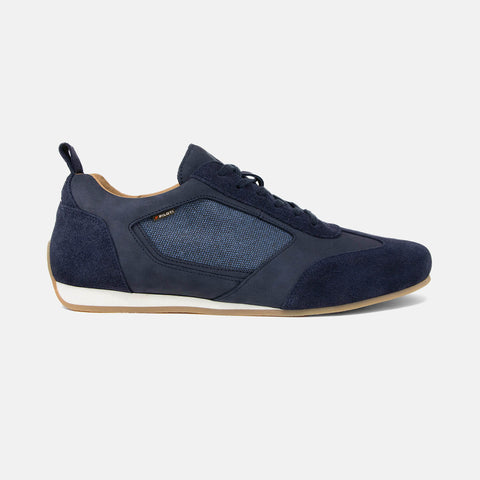 Men's navy suede, nubuck leather and recycled cotton Endurance driving shoe with gum sole, lateral view