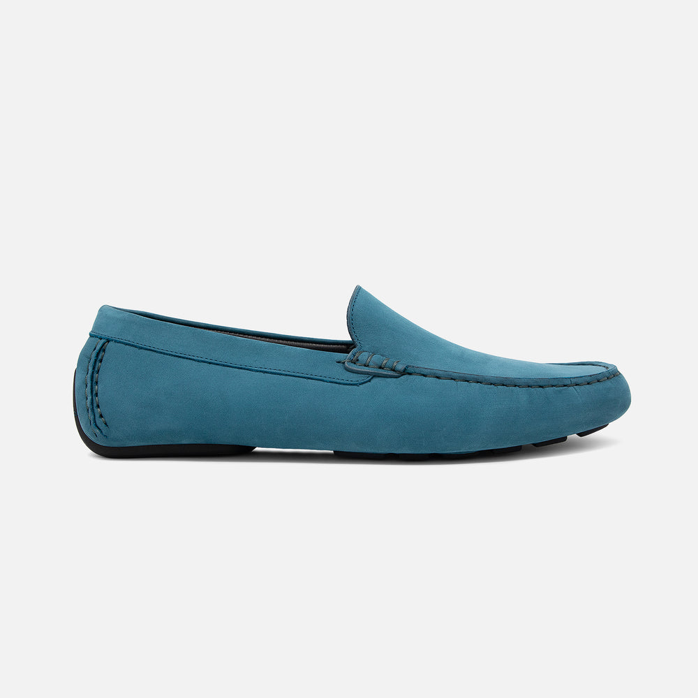 Men's teal blue nubuck leather Officina driving loafer with black sole, lateral view