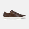 Men's dark brown burnished leather Avenue low top sneaker with white cupsole and brogue detailing, lateral view