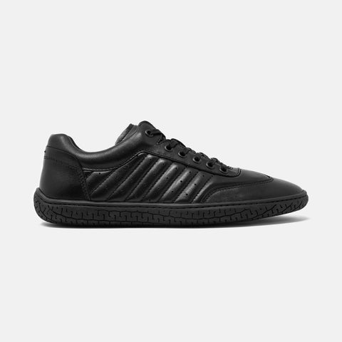 Men's black leather Pistone X sneaker with black cup sole, lateral view