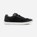 Men's black leather and ballistic nylon Pistone X sneaker with white cup sole, lateral view