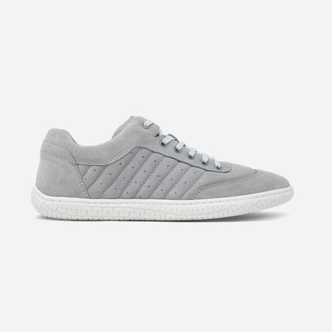 Men's light grey suede Pistone X sneaker with white cup sole, lateral view