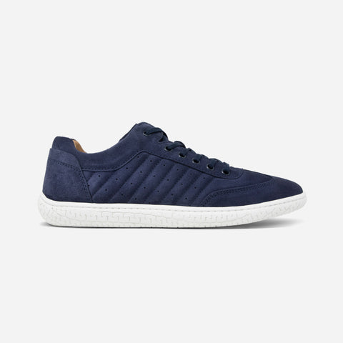 Men's navy blue suede Pistone X sneaker with white cup sole, lateral view