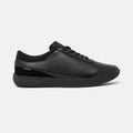 Women's black leather and suede Vittoria sneaker with black cup sole, lateral view