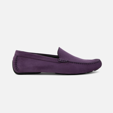 Men's plum purple nubuck leather Officina driving loafer with black sole, lateral view