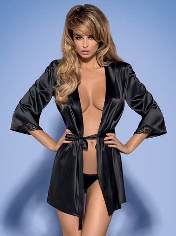 Dressing gown Obsessive Satinia black [diabella_lingerie]