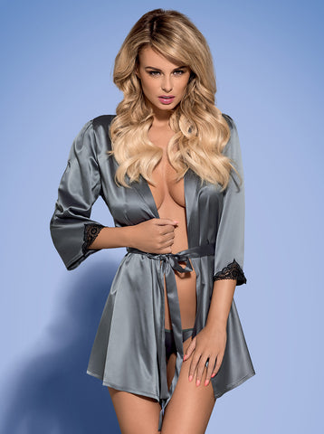 Dressing gown Obsessive Satinia grey [diabella_lingerie]