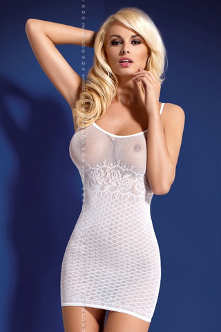 Fishnet dress Obsessive D202 white [diabella_lingerie]