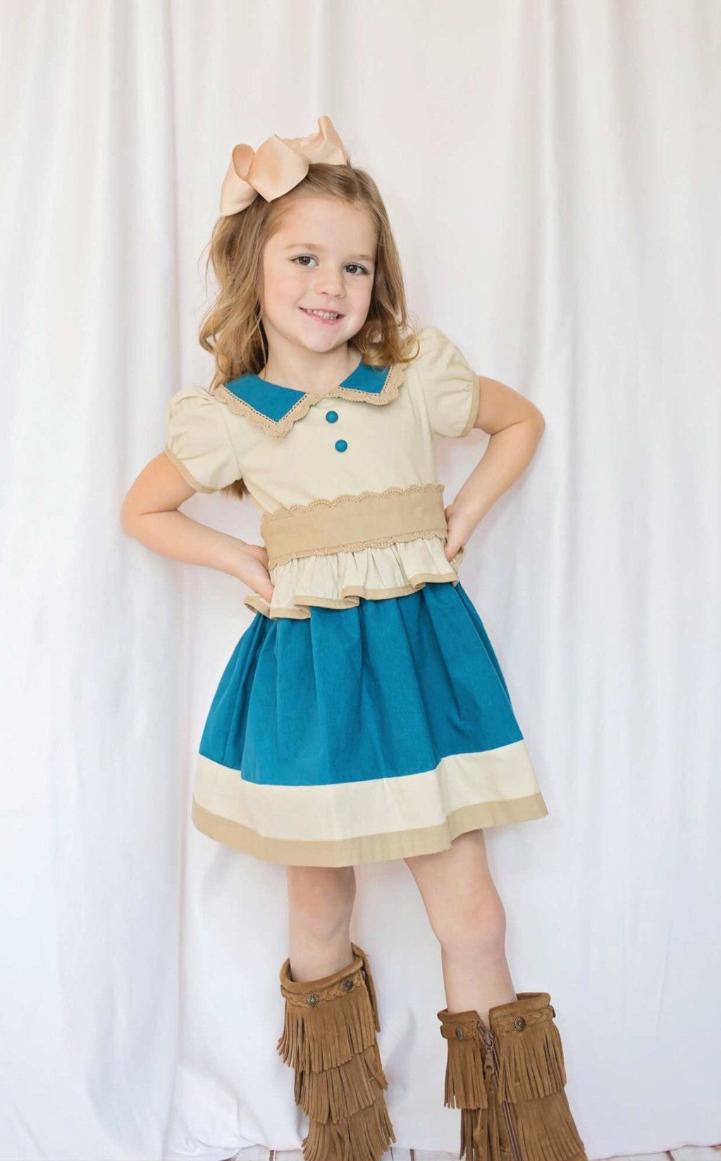 Teal & Wheat Belted Dress