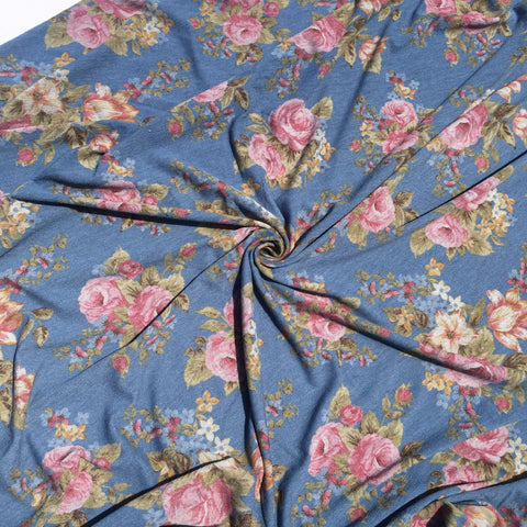 Polyester Rayon Spandex French Terry - Blue Floral