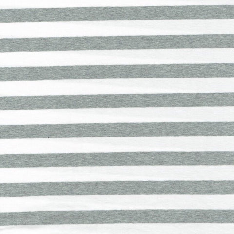 Cotton Spandex Jersey - Gray and White Stripes