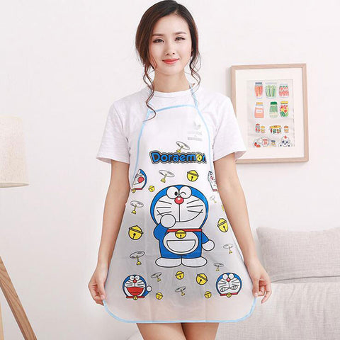 1pc Waterproof PE Kawaii Jingle Cats Adult Women Lady'S Kitchen Cooking Pinafores Aprons Cartoon Novelty
