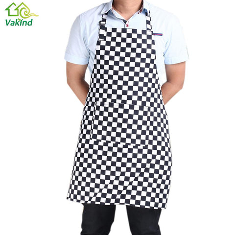 Hot Mens Womens Plain lattice Kitchen Apron with Front Pocket Chefs Butchers Cooking Baking Kitchen Accessories