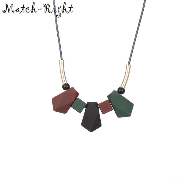 Match-Right Women Necklace Statement Necklaces & Pendants Wood Beads Necklace For Women Jewelry YJZ-193