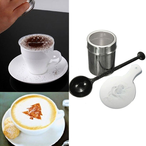 1 Set Chocolate Shaker Duster 16pcs Cappuccino Coffee Stencils Measure Spoon For Kitchen Accessories Coffee  Tool