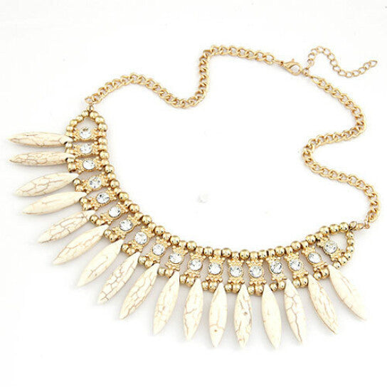 Fashion Women Crystal Pendant Chain Choker Chunky Statement Bib Necklace BOHO