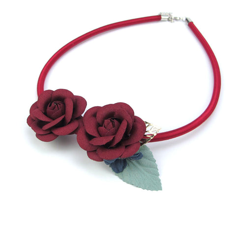 18 Design Female Handmade Flower Leaf Choker Necklace Leather Fashion Jewelry New 2016 Pendant Girl Woman Accessories Xmas Gift
