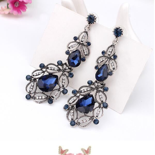 Luxury Imitation blue diomands rhinestone gem crystal peacock feather rope statement necklace fashion jewelry