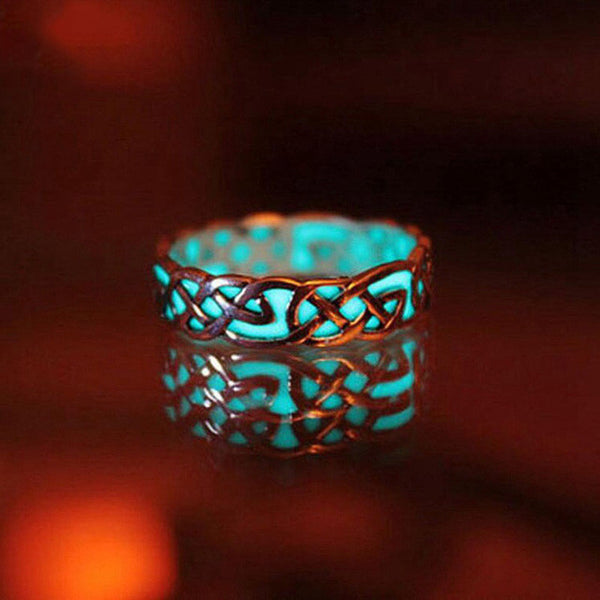 Glow In The Dark Ring Style Retro Can be Adjusted Geometric Mayan Mysterious Luminous rings For Women
