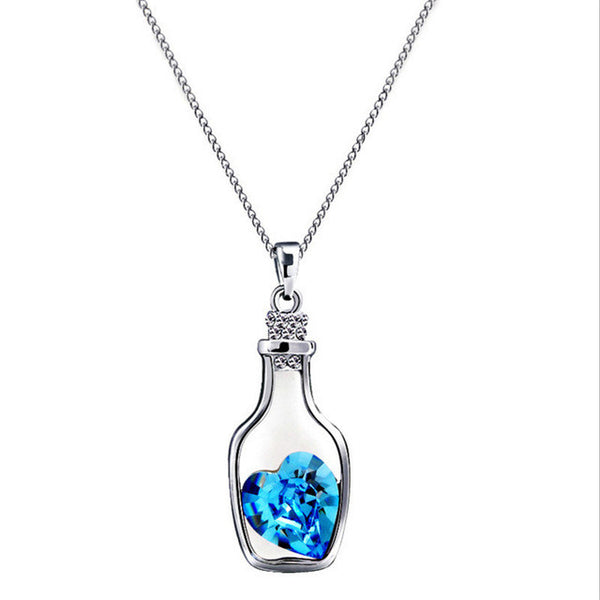 Creative Women Fashion Necklace Ladies Popular Style Love Drift Bottles Pendant Necklace Blue Heart Crystal Pendant Necklace