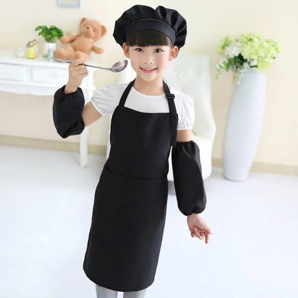 Children child Kids Apron Sleeves Hat Set Big Pocket Kitchen Baking Painting Cooking Craft Art Bib Apron 9 Colors Print Logo