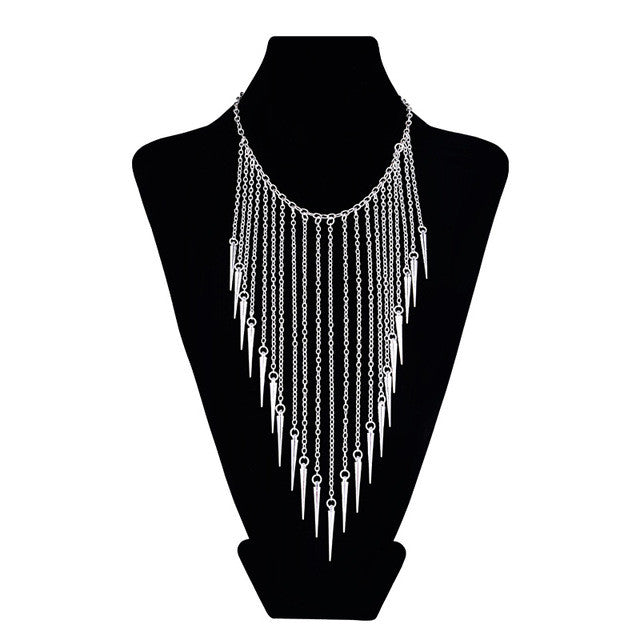 New Collares Jewelry European Style Vintage Fashion Necklaces Rivet Long Tassel Punk Accessories Women Choker Necklace