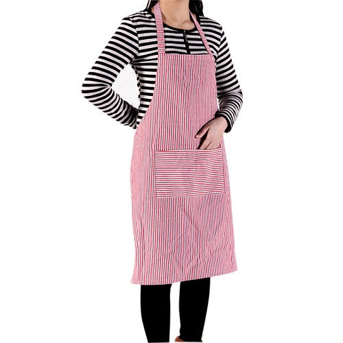 Stripe Bib Apron with 2 Pockets Chef Waiter Kitchen Cook New Tool Kitchen Apron For Kitchen Accessories