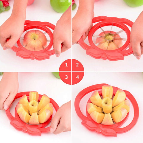Apple Slicer Cutter Corer Divider Plastic Stainless Steel Kitchen Fruit Tool