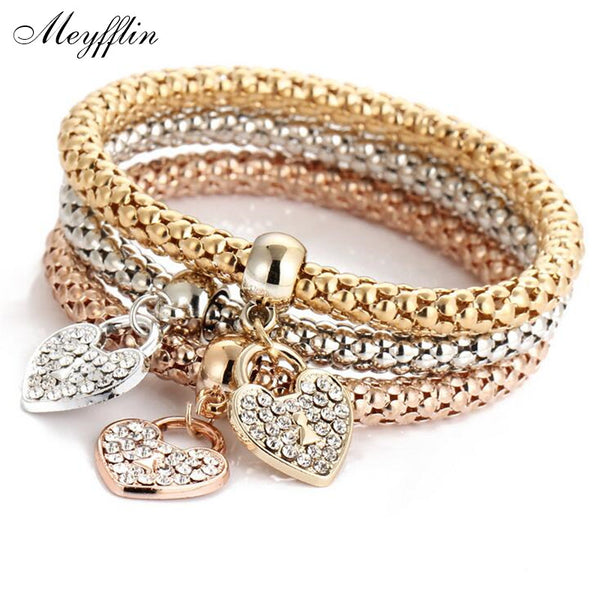 3PCS Set Crystal Heart Bracelets & Bangles 2017 Fashion Gold Elastic Bracelets for Women Multilayer Pulseira Masculina