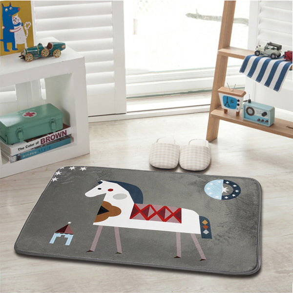 3 Size Home Bedroom England Style Small Horse Printed Floor Mat Anti-Slip Breathable Bathroom Kitchen Floor Carpet