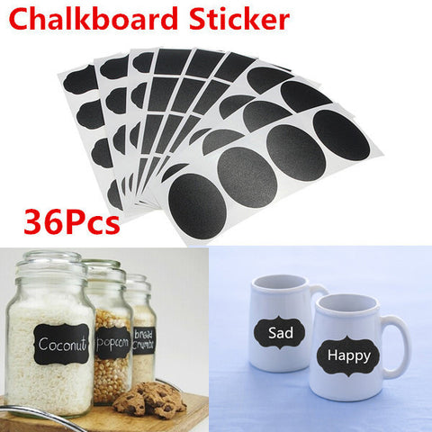 36 pcs/set Chalk Pen Modern kitchen Organizing Chalkboard Blackboard Labels Chalk Board Vinyl Kitchen Jar Stickers Craft  12x3