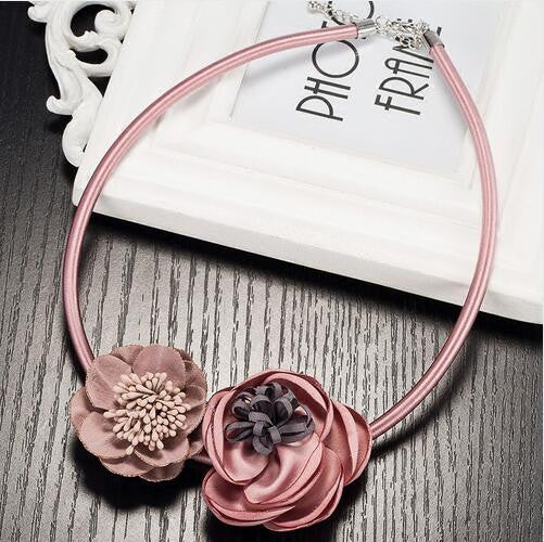 New Handmade 5 color Fabric Flower Elegant Statement Choker Necklace Leather Fashion Jewelry Pendant Girl Woman Xmas Gift