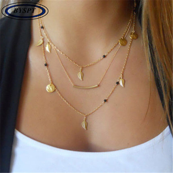 BYSPT Ethnic Coins Necklace Women Leaves Triangle Bar Round Chokers Statement Necklace multilayer Vintage Jewelry