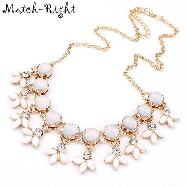 Match-Right Resin Bubble Beads Statement Necklace Women Rhinestone Necklace & Pendants Summer Style Jewelry colar For Gift Party