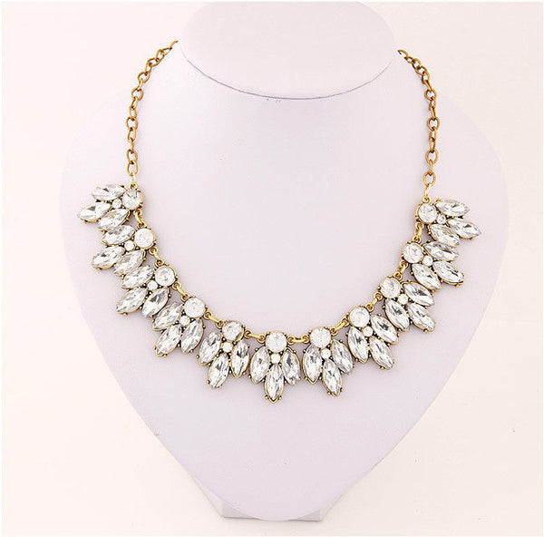 Match-Right New Women Statement Necklace Link Chain Necklace Fashion Choker Necklace Rhinestone Wheat pendants Jewelry Trends